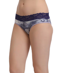 Cotton High Waist Hipster With Lacy Waist - Purple, S / Purple, Panty Clovia Thailand