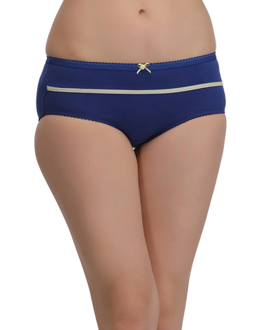 Cotton High Waist Hipster With Contrast Bow - Blue, , Panty Clovia Thailand