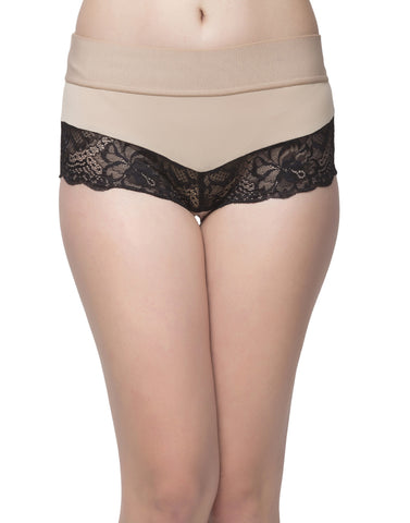 Clovia High Waist Tummy Tucking Lacy Hipster - Beige