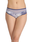 Clovia Cotton High Waist Hipster With Powernet Waist - Blue, , Panty Clovia Thailand