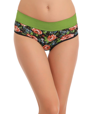 Clovia Cotton High Waisted, Tummy Smoothening Hipster - Green, , Panty Clovia Thailand