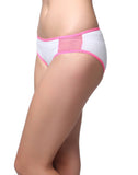 Clovia Cotton Mid Waisted Bikini With Mesh Side Wings - White, S / White, Panty Clovia Thailand