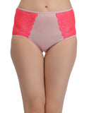 Cotton High Waist Hipster With Lace Side Wings - Pink, , Panty Clovia Thailand