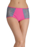 Clovia Cotton Contrasting High-Waist Hipster with Lacy Side Wings - Pink, , Panty Clovia Thailand
