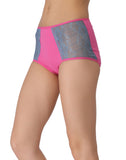 Clovia Cotton Contrasting High-Waist Hipster with Lacy Side Wings - Pink, S / Pink, Panty Clovia Thailand