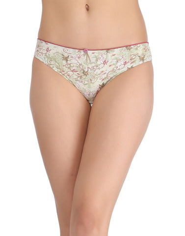 Clovia Printed Low-Waist Bikini With Satin Bow - Green, , Panty Clovia Thailand
