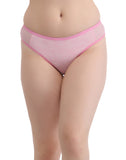 Clovia Mid Waist Textured Print Bikini With Powernet Side Wings - Pink, , Panty Clovia Thailand