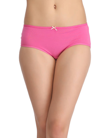 Clovia Cotton Mid-Waist Hipster with Centre Bow - Pink