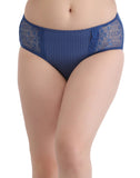Clovia Cotton Mid Waist Printed Bikini With Lacy Side Wings - Blue, , Panty Clovia Thailand