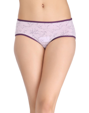 Clovia Cotton Mid-Waist Hipster with Floral Print - Purple, , Panty Clovia Thailand