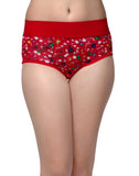 Clovia Cotton Printed High Waist Tummy Tucking Bikini - Red, , Panty Clovia Thailand