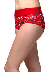 Clovia Cotton Printed High Waist Tummy Tucking Bikini - Red, S / Red, Panty Clovia Thailand