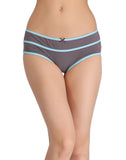 Clovia Cotton Mid-Waist Hipster with Contrast Band Design - Grey, , Panty Clovia Thailand