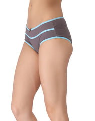 Clovia Cotton Mid-Waist Hipster with Contrast Band Design - Grey, S / Grey, Panty Clovia Thailand