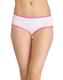 Clovia Cotton High-Waist Hipster With Contrast Elastic - White, , Panty Clovia Thailand