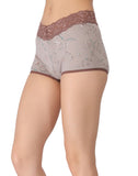 Clovia Cotton Printed High Waist Boys Shorts - Grey, S / Grey, Panty Clovia Thailand