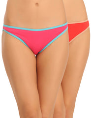 Pack Of 2 Cotton Mid Waist Bikinii In Multicolor, , Panty Clovia Thailand