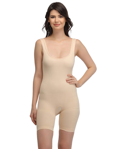 Laser-Cut No-Panty Lines High Compression Body Suit - Skin, , Shapewear Clovia Thailand