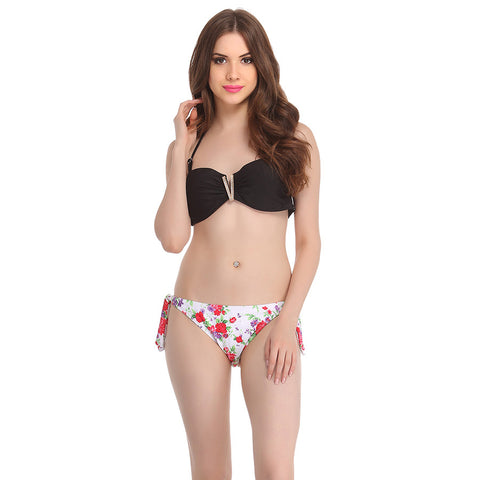 2 Piece Polyamide Swimsuit of Padded Bra & Printed Brief In White