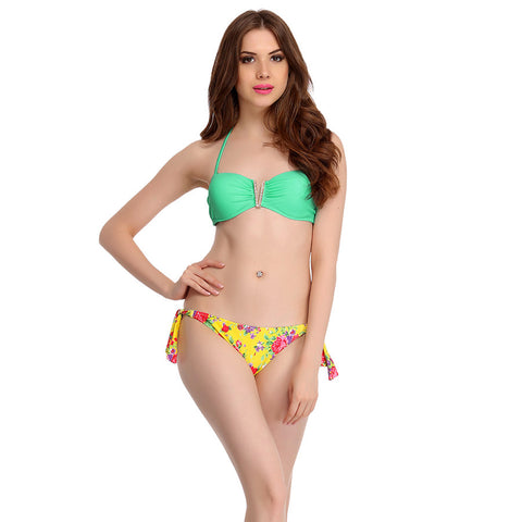 2 Piece Polyamide Swimsuit of Padded Bra & Printed Brief In Aqua