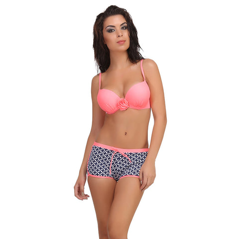 2 Piece Polyamide SwimSuit of Padded Bra & Printed Hipster In Pink