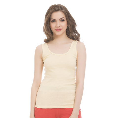 Beige Cotton Camisole With Scooped Neck, L / Nude, Cami Clovia Thailand