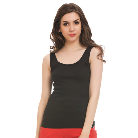 Black Cotton Camisole With Scooped Neck, L / Black, Cami Clovia Thailand