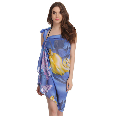 Chiffon Sarong In Blue, , Swim-dress Clovia Thailand