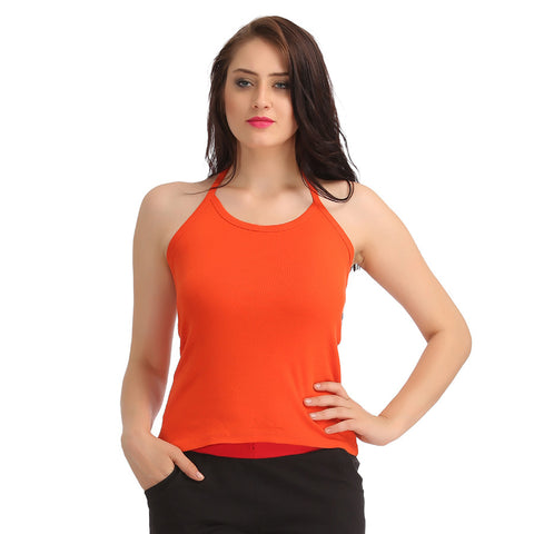 Cotton Camisole With Halter Neck - Orange, L / Orange, Cami Clovia Thailand