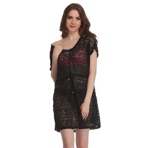 Crochet Kaftan In Black, , Swim-dress Clovia Thailand