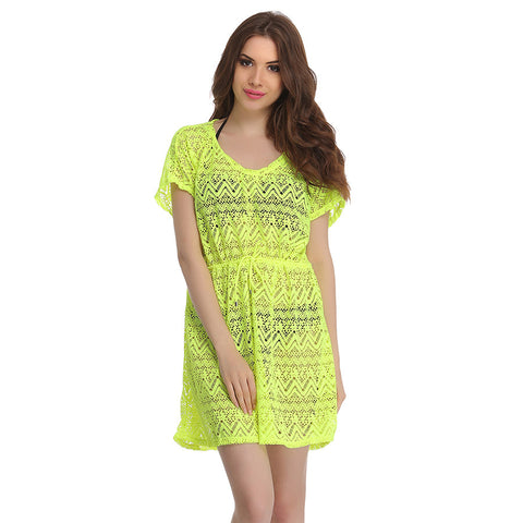 Crochet Kaftan In Florescent Green, , Swim-dress Clovia Thailand