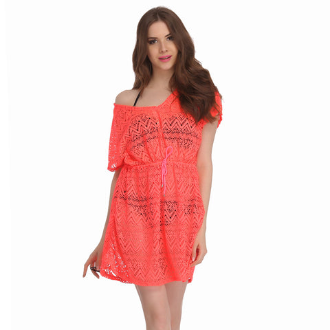 Crochet Kaftan In Orange, , Swim-dress Clovia Thailand