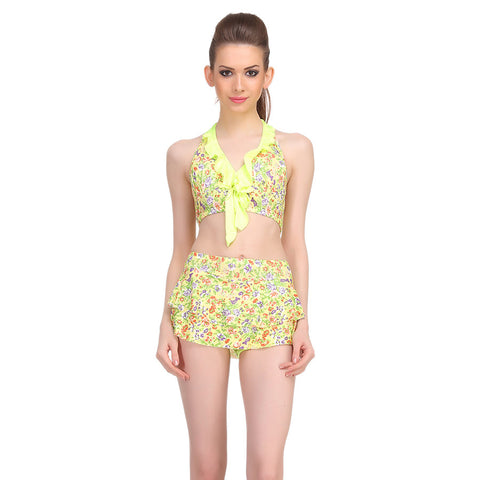 Two Piece Polyamide Printed Padded Swim Suit In Fluorescent Green