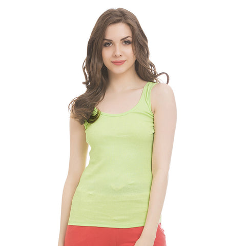 Green Cotton Camisole With Scooped Neck, L / Green, Cami Clovia Thailand