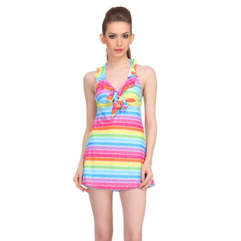 Polyamide Padded Halter Neck Striped Swim Suit in Yellow