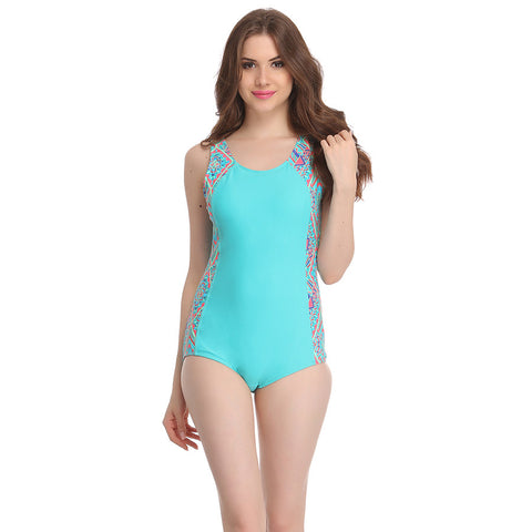 Polyamide Padded Printed Tankini in Sea Green