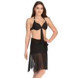 2 Pc Black Swimsuit Set With Matching Sarong, , Swim-dress Clovia Thailand