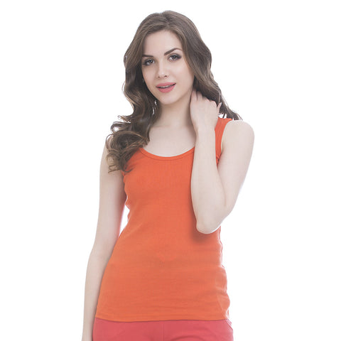 Orange Cotton Camisole With Scooped Neck, L / Orange, Cami Clovia Thailand