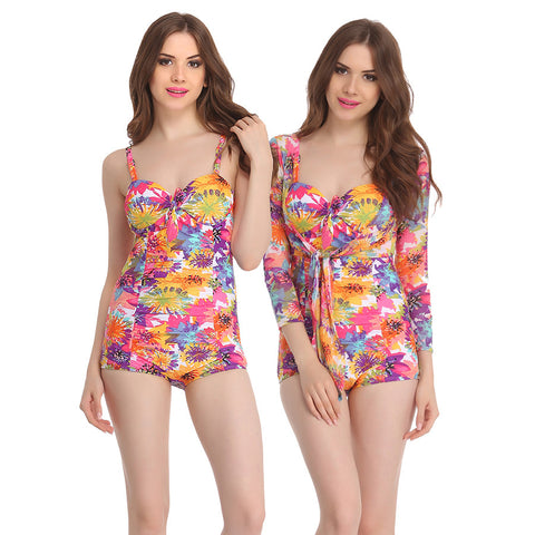 Two Piece Polyamide & Powernet Padded Swim Suit with Orange Tankini and Shrug, L / Orange, Monokini Clovia Thailand