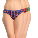Miss Clyra Set Of 3 Cotton Briefs In Red, Green & Blue, S / Multicolor, Panty Clovia Thailand