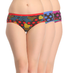 Miss Clyra Set Of 3 Cotton Briefs In Blue, Red & Purple, S / Multicolor, Panty Clovia Thailand
