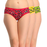 Miss Clyra Set Of 3 Cotton Briefs In Green, Hot Pink & Yellow, S / Multicolor, Panty Clovia Thailand
