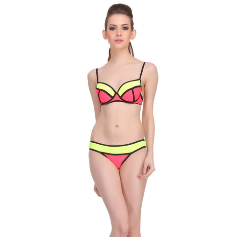 2 Piece Polyamide SwimSuit of Balconette Bra & Bikini In Red