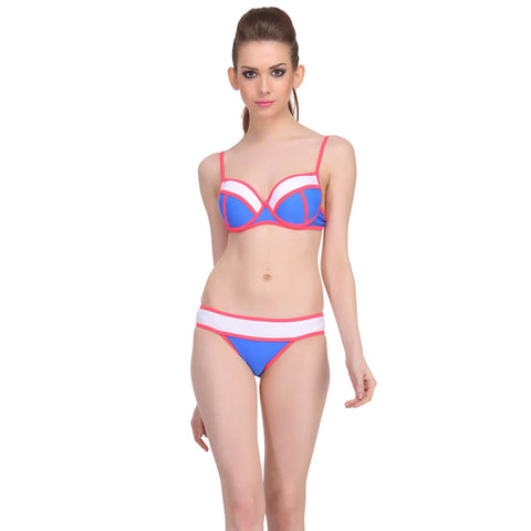 2 Piece Polyamide SwimSuit of Balconette Bra & Bikini In Navy