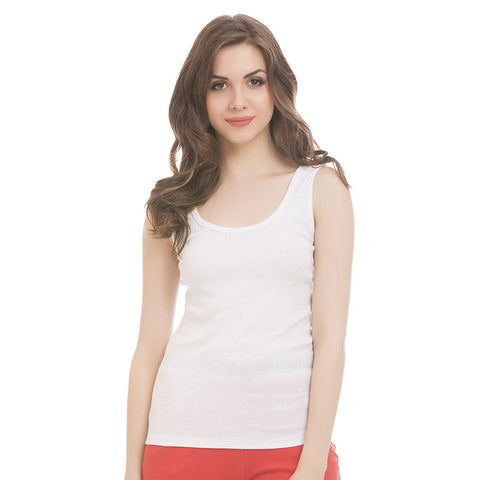 White Cotton Camisole With Scooped Neck, L / White, Cami Clovia Thailand
