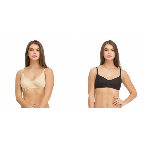 Set of two Cotton Non-Padded Non-Wired Bras With Full Cups, , Bra Clovia Thailand