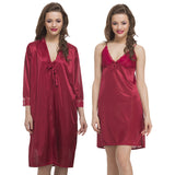 Satin 2pc Nightwear Set In Maroon, , sleepwear Clovia Thailand