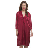 Satin 2pc Nightwear Set In Maroon, O / Red, sleepwear Clovia Thailand