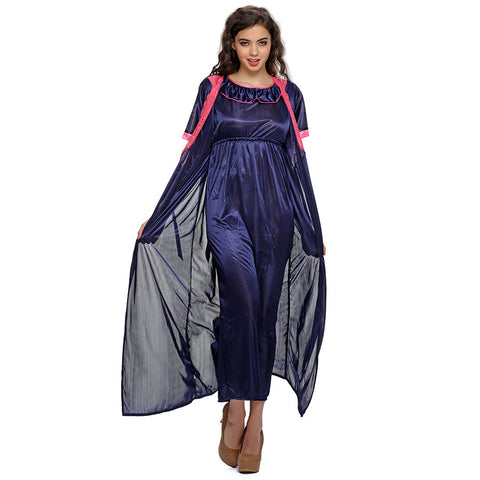 2 PCS SATIN NIGHTWEAR SET IN blue - LONG ROBE & NIGHTIE, , sleepwear Clovia Thailand