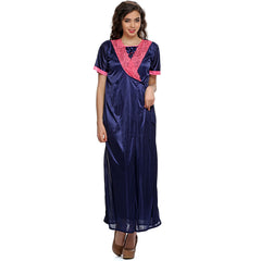 2 PCS SATIN NIGHTWEAR SET IN blue - LONG ROBE & NIGHTIE, O / Blue, sleepwear Clovia Thailand